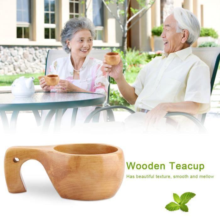 Tasse à café boire en bois naturel extérieur portable avec poignée en bois (# 3)-MEY