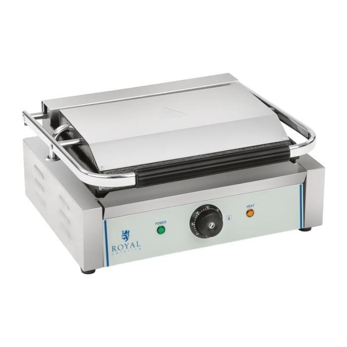 Machine à panini nervurée - 1 x 2.200 watts acier inox professionnel 3614035