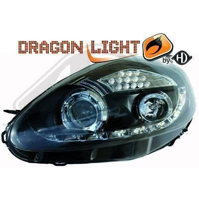 3456585 , Paire de Feux Phares Daylight LED noir pour FIAT Grande Punto 199 de 2005 a 2009