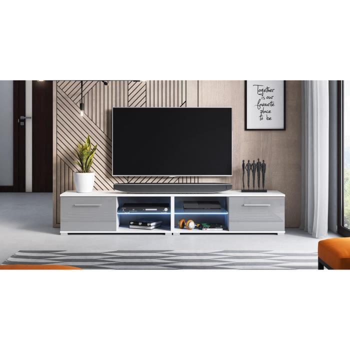 Décoro Meuble TV design MAGNUM (200 cm) couleur blanc et gris brillant avec l'éclairage à la LED.