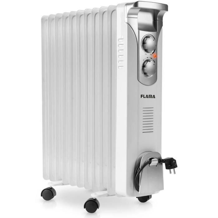 Flama 2357FL, Chauffage électrique à bain d'huile, Huile, Intérieur, Sol, Blanc, Énergie