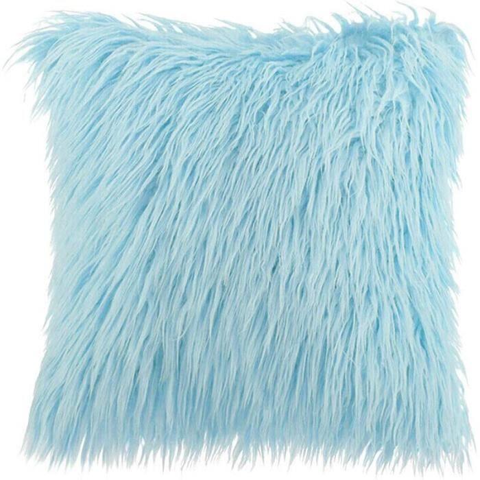 D 45x45cm -Housse de coussin en fausse fourrure blanc-rose de luxe 45x45cm housses décoratives pour coussins canapé taie d'oreill