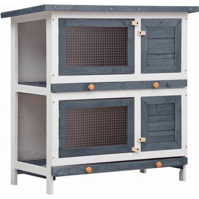 BINGO- Clapier lapin extérieur Cage Clapier lapin Enclos avec 4 portes Gris Bois3574