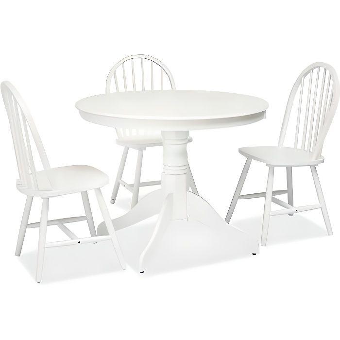 WINDCOR - Table élégante style vintage salon salle à manger - Dimensions : 100x100x75 cm - Plateau rond en MDF - Base en bois -