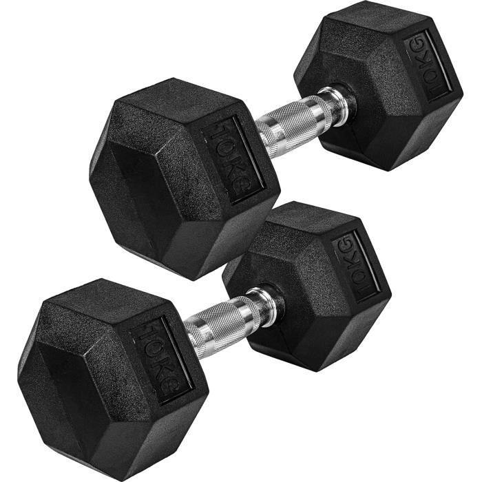MOVIT Paire d´haltères- Haltère hexagonal- Dumbbells en fonte avec revêtement caoutchouc- disponible en poids de 2x2kg à 2x30[202]