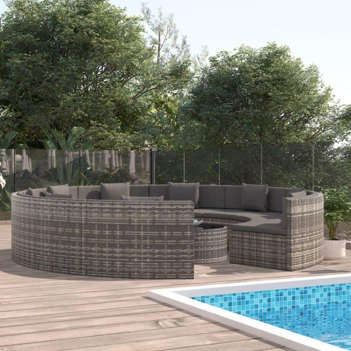 102460 Salon de jardin 9 places et Table basse - 10 pcs avec coussins Résine tressée Gris Meuble d'excellent