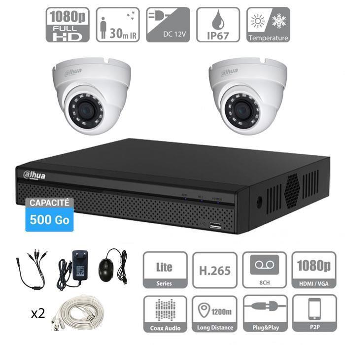 Kit vidéosurveillance 500Go DAHUA Full HD 2 caméras dômes de 2 Mpx-Evolutif à 4 caméras