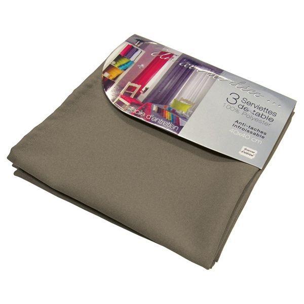 Lot de 3 serviettes de table ESSENTIEL taupe