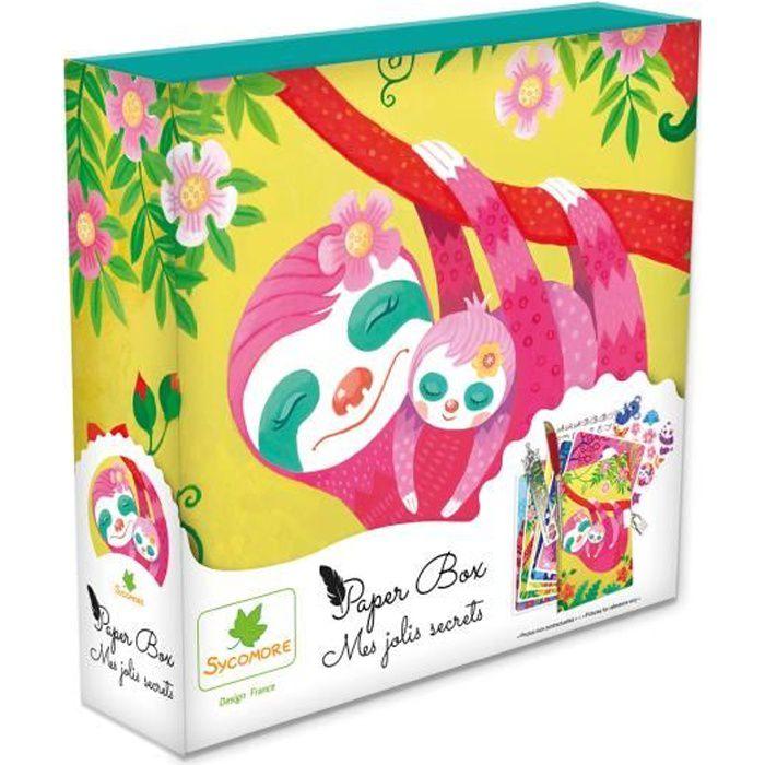 SYCOMORE - Paper Box - Kit de papeterie pour enfants - Mes jolies secrets - Paresseux - Petit Modèle - Dès 7 ans