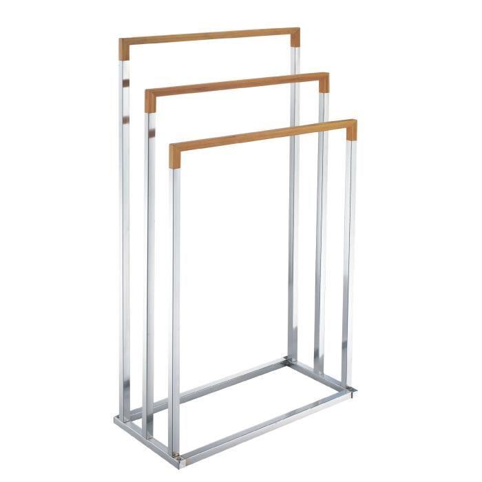 M-Home - Porte-Serviettes sur Pied - 3 Niveaux - Métal Chromé & Bambou