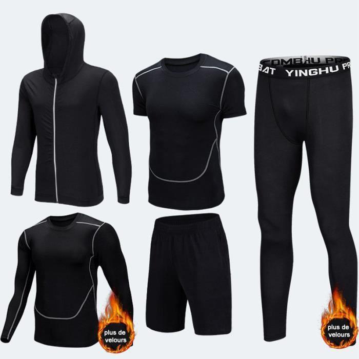 Ensemble tenue de compression homme 5 pcs plus de velours T shirt manches longues-courtes+Collant Running+Short+Sweatshirt De Sport