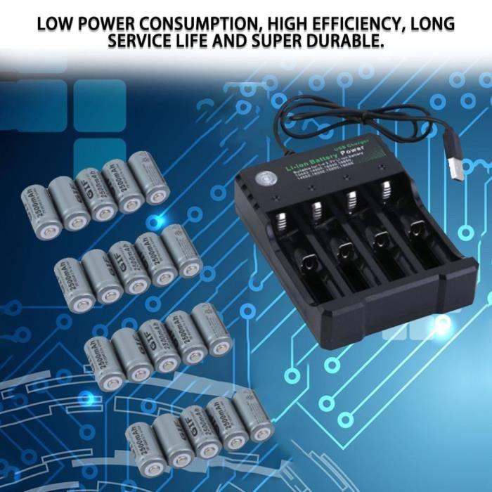 20 x batteries rechargeables + chargeur de batteries 4 emplacements pour caméra de sécurité Netgear Arlo haute capacité 2500mAh