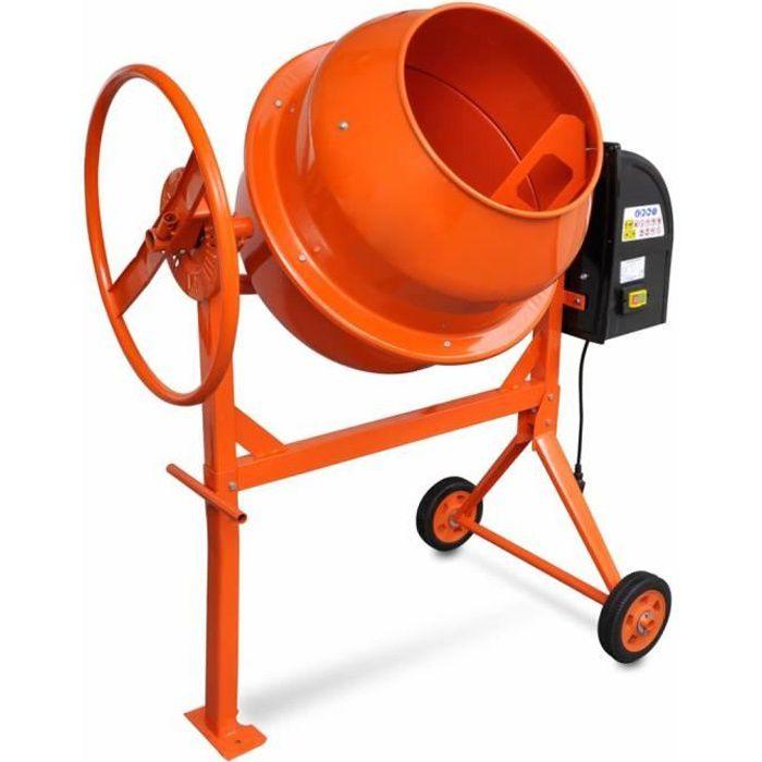 Bétonnière électrique pour professionnels et amateurs140 L 650 W Acier Orange
