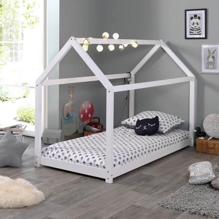 Lit Enfant Design -cabane- 90x200cm Blanc - Paris Prix