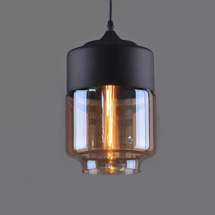Lustre Vintage Rétro Plafonnier Verre Industrielle Eclairage Pendant Antique Edison E27 Culot Noir