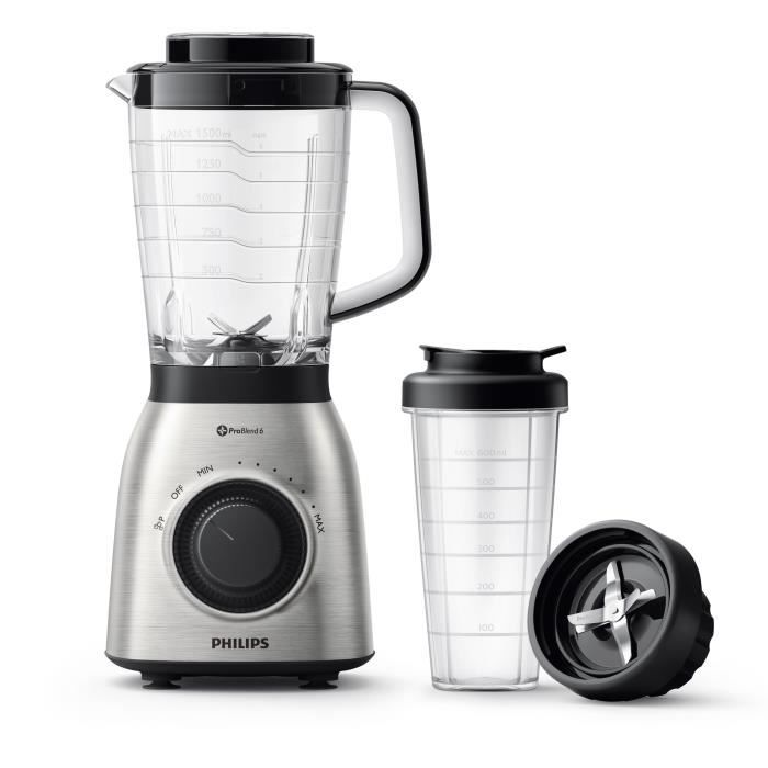PHILIPS HR3553/00 Blender avec gourde ProBlend 6 Viva Collection - Inox