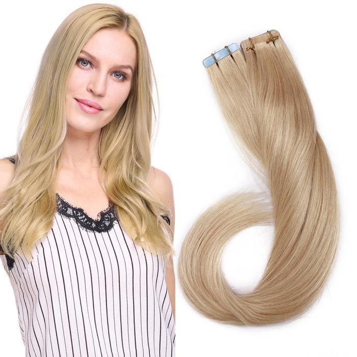 Extensions Cheveux Adhésifs 18 Pouces Extension Adhesive Naturel Invisible Extension A Froid [3G-PCS * 20 PCS] Tape In Hair