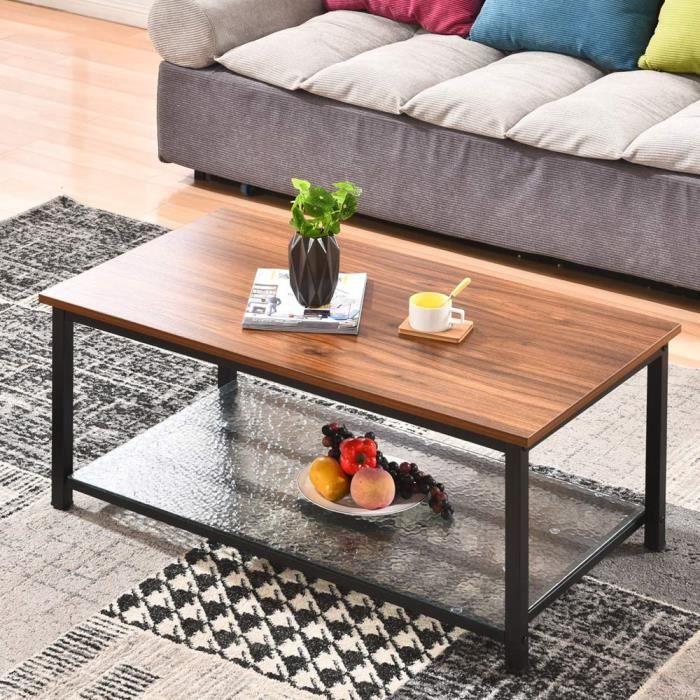 Table basse de salon en bois et métal Style industriel