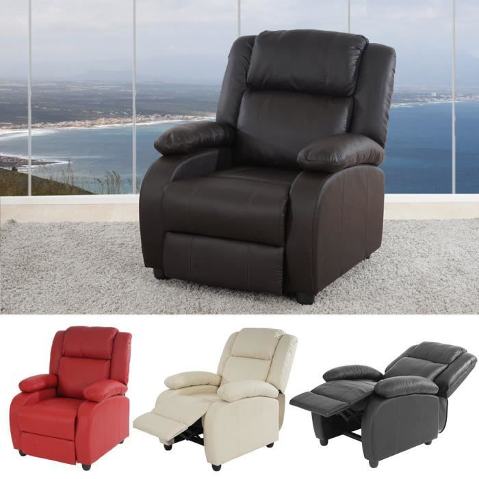 fauteuil tv relax fauteuil chaise longue lincoln cuir synth tique noir coffee rouge cr me. Black Bedroom Furniture Sets. Home Design Ideas