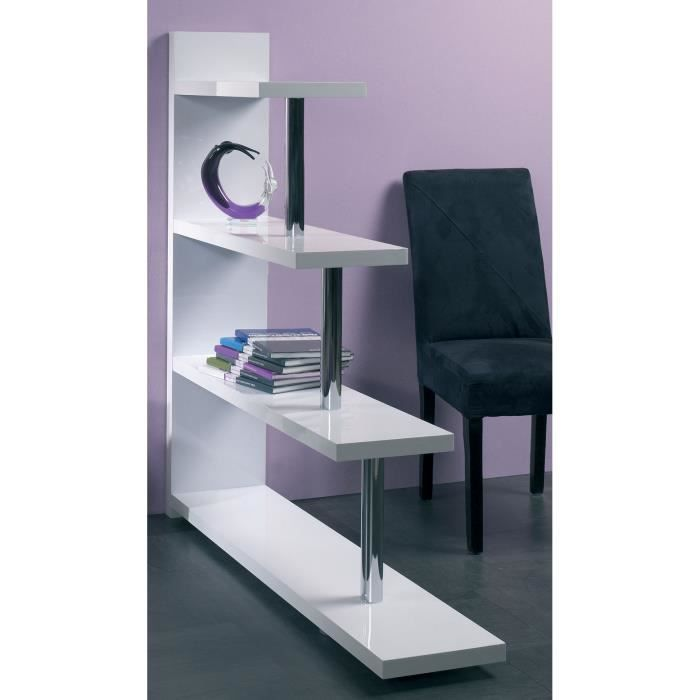 meuble biblioth que blanc laqu et chrom design alecta 3 dimensions h 123 cm achat vente. Black Bedroom Furniture Sets. Home Design Ideas