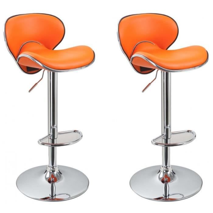 Lot de 2 tabourets de bar orange 1209059 achat vente - Tabouret de bar cdiscount ...