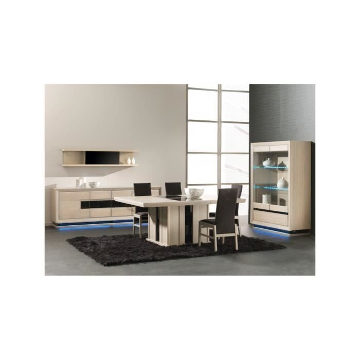 table carr e ch ne blanchi pied central 1 allonge verre. Black Bedroom Furniture Sets. Home Design Ideas