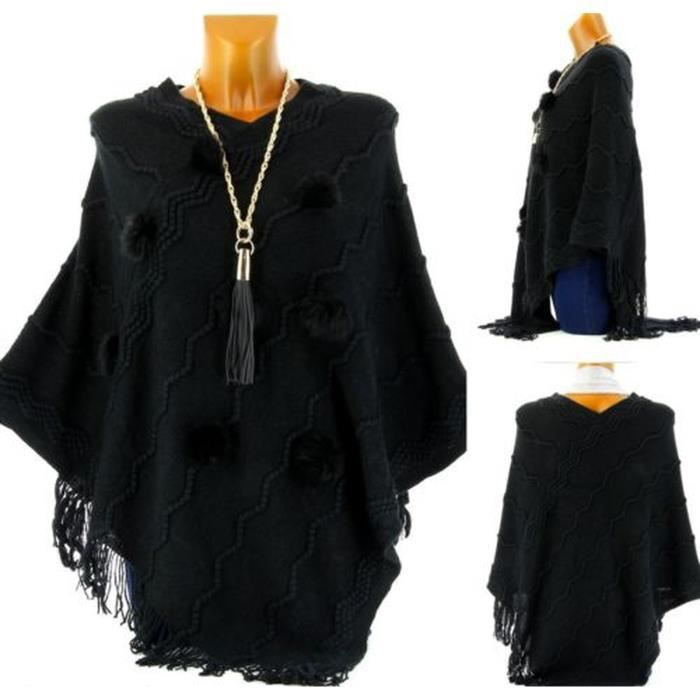 poncho veste cape chandail pompons noir femme chic achat vente gilet cardigan. Black Bedroom Furniture Sets. Home Design Ideas