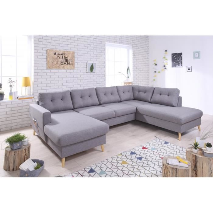 Oslo u canap panoramique convertible scandinave gris for Canape 8 personnes