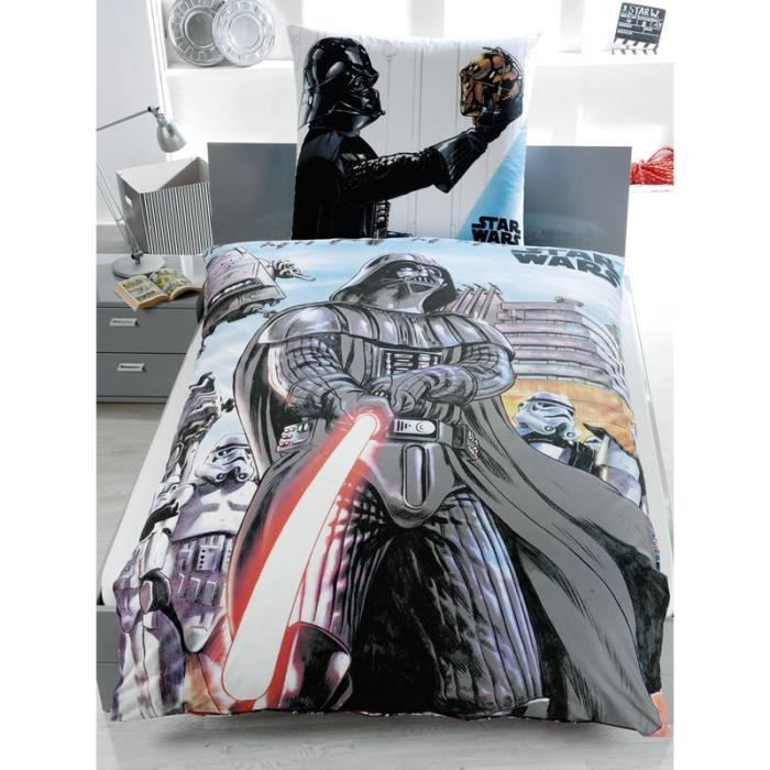 housse de couette star wars r versible dessin de dark vador achat vente housse de couette. Black Bedroom Furniture Sets. Home Design Ideas