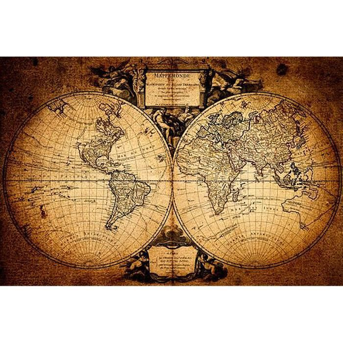 poster carte du monde mappemonde achat vente affiche les soldes sur cdiscount cdiscount. Black Bedroom Furniture Sets. Home Design Ideas