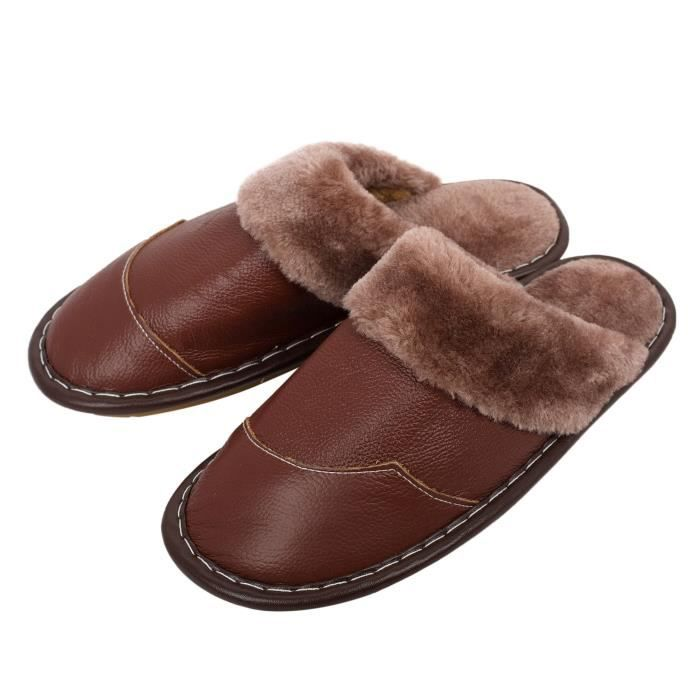Winter Genuine Leather Slippers, Warm Faux Fur Lining Plush Mules Slipper, Closed Toe Open Back Hous Km53h Taille-40 1-2
