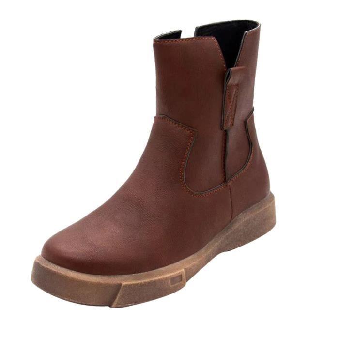 Cuir Chaussures Bas Tube Femmes Marron Moyen Martin Casual En Plates Zipper Bottes wkOPn08