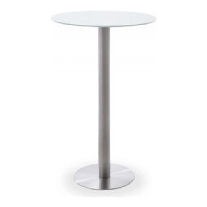 MANGE-DEBOUT Table bar ronde avec plateau ceramique Blanc avec