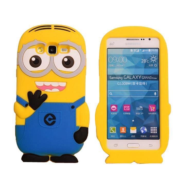 Housse en Silicone Étui pour Samsung Galaxy Grand Prime G530 3D Despicable Me Minion Silicone Coque Style Case bleu