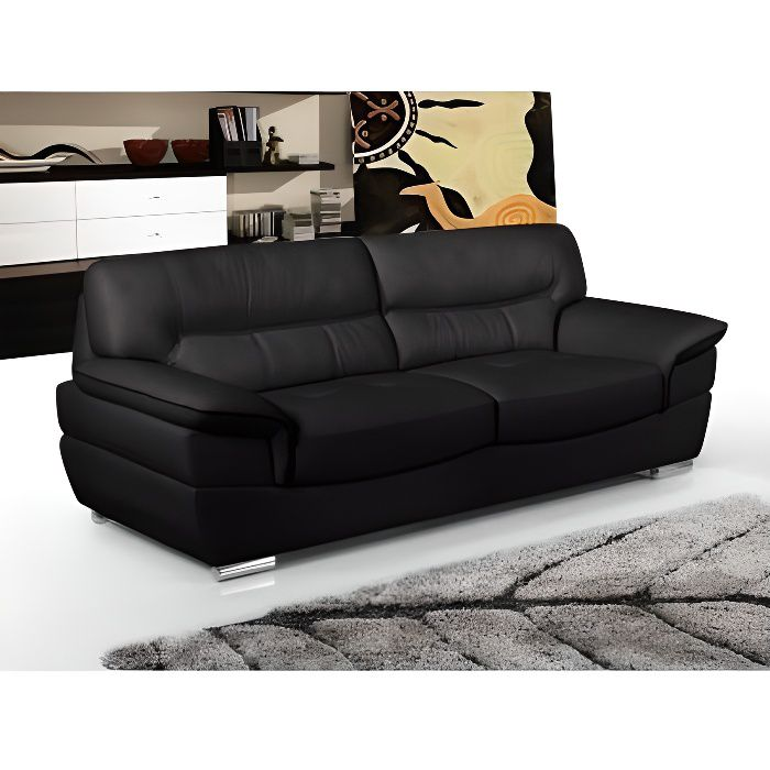canap 3 places en cuir thibault noir achat vente canap sofa divan soldes d s le. Black Bedroom Furniture Sets. Home Design Ideas