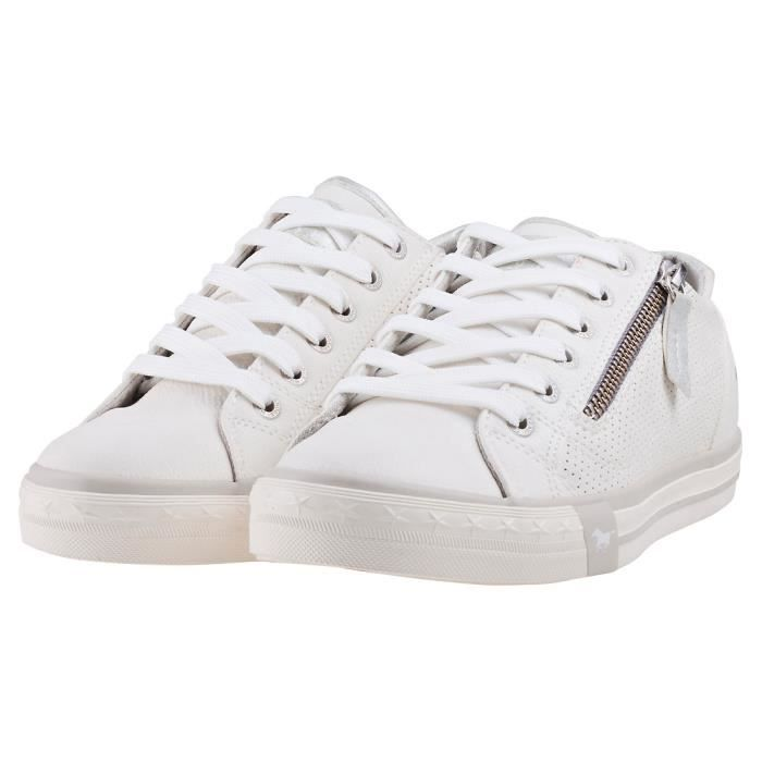 Mustang Low Top Side Zipper Femmes Baskets Blanc - 39 EU