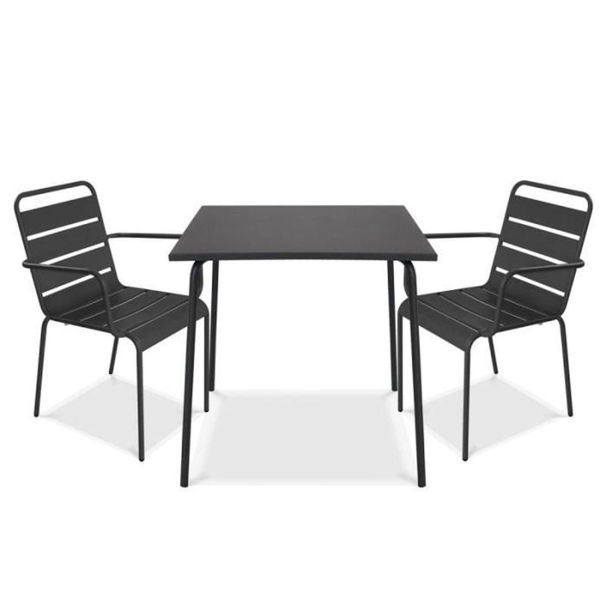 Palavas Collection 2 personnes avec set et chaises métal table 2 Ensemble terrasse accoudoirs en FTclK1J