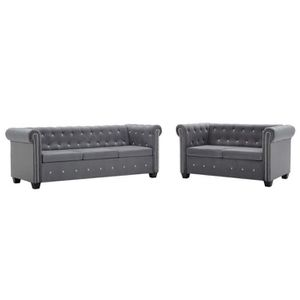 CANAPÉ - SOFA - DIVAN CEN Canapé Chesterfield 2 pcs Revêtement en velour