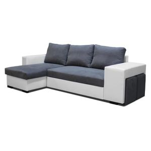 canape angle avec 2 poufs convertible en lit achat vente salon complet cdiscount. Black Bedroom Furniture Sets. Home Design Ideas