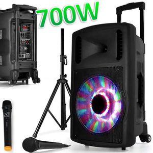 ENCEINTE ET RETOUR Enceinte SONO Mobile DJ PA 700W FUZZY12BT LED PIED