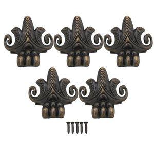 4 x Laiton Antique Bijoux Boîte Cadeau Boîtier en bois décoratifs pieds Jambe coin pour NEUF