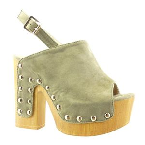 f9b32a89fe4842 Angkorly - Chaussure Mode Sabot Sandale plateforme femme clouté bois ...