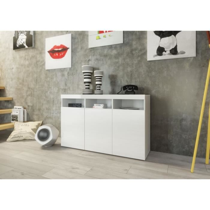 buffet 130cm laqu blanc salon salle manger bon. Black Bedroom Furniture Sets. Home Design Ideas