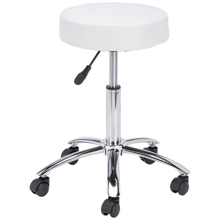 Amstyle Tabouret de travail à roulettes Leon Design, avec assise rembourrée Blanc