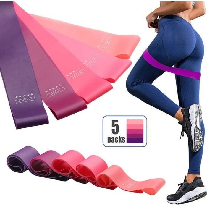 EdorReco 5 Pcs Bandes de Resistance - Loop Bande Elastique Fitness Équipement d'Exercices pour Musculation Pilates Squat Sport