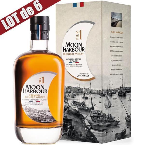 X6 Whisky Moon Harbour Pier 1 Sauternes - 45,8° - 70 cl - Affiné en France