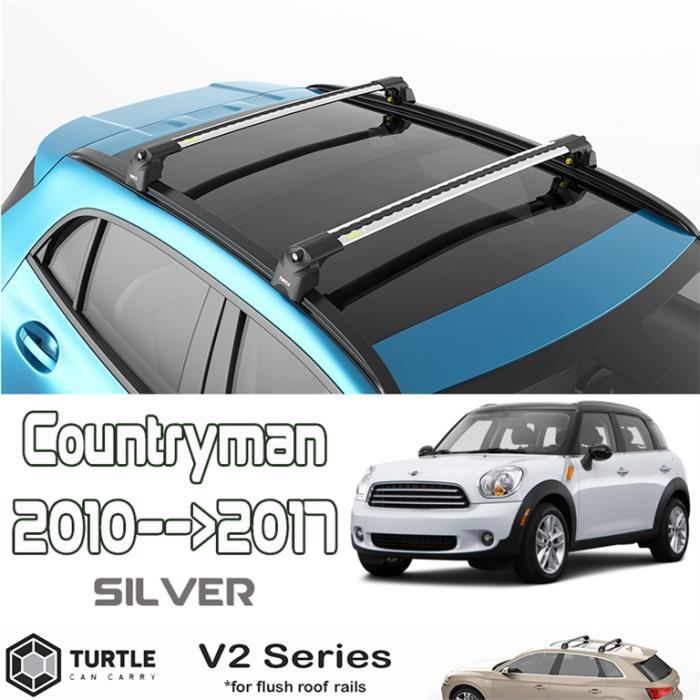Barres de toit pour Mini Countryman R60 2010-2017 transversales, alu (le jeu de 2) série Turtle V2 avec serrures
