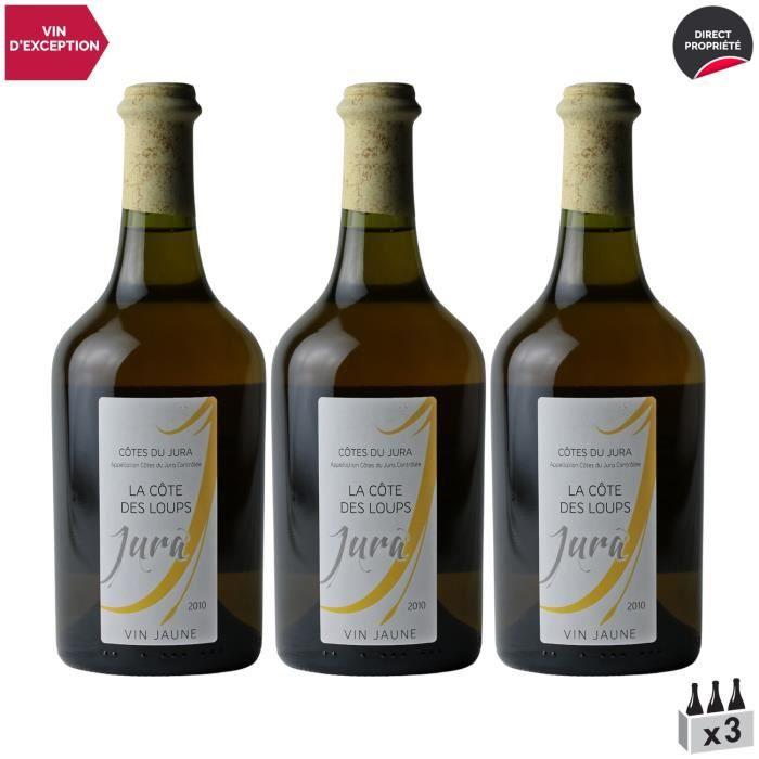 Côtes du Jura Vin Jaune Blanc 2010 - Lot de 3x62cl - La Côte des Loups - Vin AOC Blanc du Jura - Cépage Savagnin