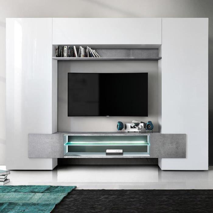 Meuble tv mural blanc laqué et effet béton EROS Avec L 258 x P 36 x H 191 cm Blanc