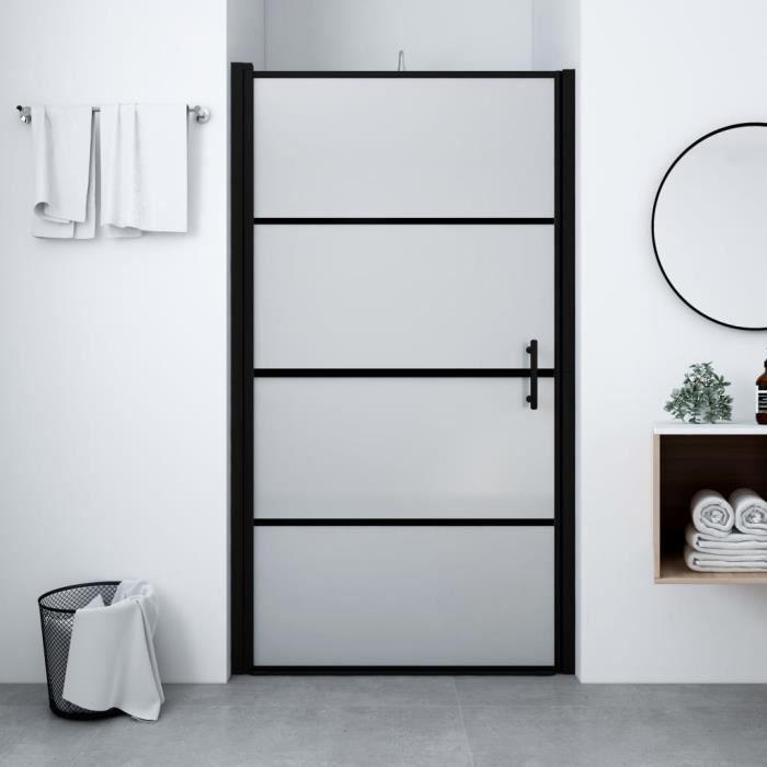 Porte de douche Style Contemporain - Paroi de douche - Verre trempé dépoli 91x195 cm Noir élégant ♫41238